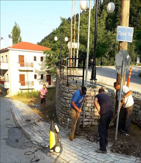 Περιποίηση της εισόδου Καστανιάς (10-20 Ιουλ) από μέλη του Συλλόγου