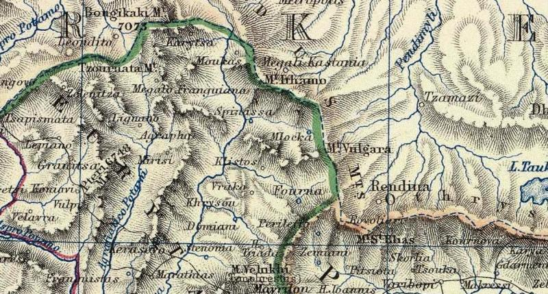 Χάρτης 1869 - Μεγάλη Καστανιά και τα παλιά σύνορα